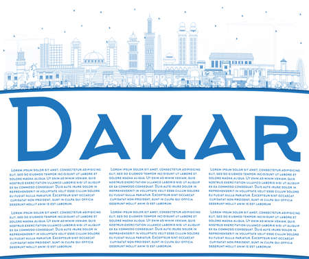 Outline Dakar Senegal City Skyline with Blue Buildings and Copy Space. Vector Illustration. Business Travel and Concept with Historic Architecture. Dakar Cityscape with Landmarks. 일러스트