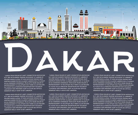 Dakar Senegal City Skyline with Color Buildings, Blue Sky and Copy Space. Vector Illustration. Business Travel and Concept with Historic Architecture. Dakar Cityscape with Landmarks.  イラスト・ベクター素材