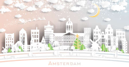 Amsterdam Holland City Skyline in Paper Cut Style with Snowflakes, Moon and Neon Garland. Vector Illustration. Christmas and New Year Concept. Santa Claus on Sleigh.