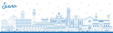 Outline Siena Tuscany Italy City Skyline with Blue Buildings. Vector Illustration. Business Travel and Concept with Historic Architecture. Siena Cityscape with Landmarks.