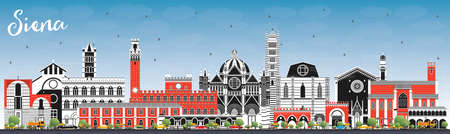 Siena Tuscany Italy City Skyline with Color Buildings and Blue Sky. Vector Illustration. Business Travel and Concept with Historic Architecture. Siena Cityscape with Landmarks.