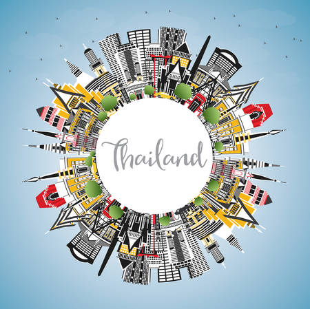 Thailand City Skyline with Color Buildings, Blue Sky and Copy Space. Vector Illustration. Tourism Concept with Historic Architecture. Thailand Cityscape with Landmarks. 일러스트