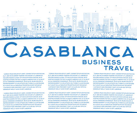 Outline Casablanca Morocco City Skyline with Blue Buildings and Copy Space. Vector Illustration. Business Travel and Concept with Historic Architecture. Casablanca Cityscape with Landmarks. 스톡 콘텐츠 - 133539664