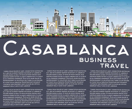 Casablanca Morocco City Skyline with Color Buildings, Blue Sky and Copy Space. Vector Illustration. Business Travel and Concept with Historic Architecture. Casablanca Cityscape with Landmarks.