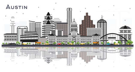 Austin Texas City Skyline with Gray Buildings and Reflections Isolated on White. Vector Illustration. Business Travel and Tourism Concept with Modern Architecture. Austin USA Cityscape with Landmarks.