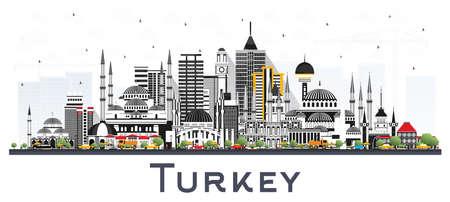 Skyline van de stad van Turkije met kleur gebouwen geïsoleerd op wit. Vectorillustratie. Toerismeconcept met historische architectuur. Turkije stadsgezicht met monumenten. Izmir. Ankara. Istanbul.