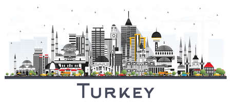 Turkey City Skyline with Color Buildings Isolated on White. Vector Illustration. Tourism Concept with Historic Architecture. Turkey Cityscape with Landmarks. Izmir. Ankara. Istanbul.