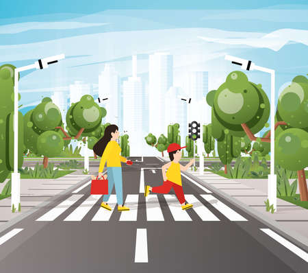 Mom with Son Crossing Road On Crosswalk, Road Markings, Sidewalk for Pedestrians, Trees and Traffic Lights. Vector Illustration. Cityscape. Urban Concept. City Skyline.