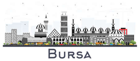 Bursa Turkey City Skyline with Color Buildings Isolated on White. Vector Illustration. Business Travel and Tourism Concept with Historic Architecture. Bursa Cityscape with Landmarks. 向量圖像