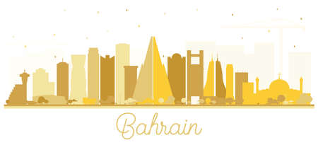 Bahrain City Skyline Silhouette with Golden Buildings Isolated on White. Vector Illustration. Business Travel and Tourism Concept with Modern Architecture. New Bahrain Cityscape with Landmarks. Vecteurs