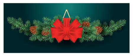 Christmas Decoration with Red Bow on Fir Tree Branches with Cones. Vector illustration. Green Background.