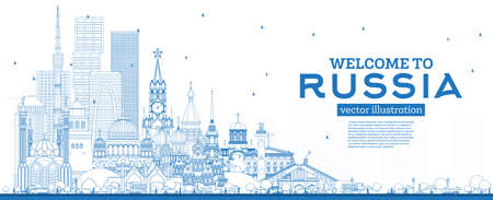 Outline Welcome to Russia Skyline with Blue Buildings. Vector Illustration. Tourism Concept with Historic Architecture. Russia Cityscape with Landmarks. Moscow. Saint Petersburg. Kazan. Yekaterinburg.