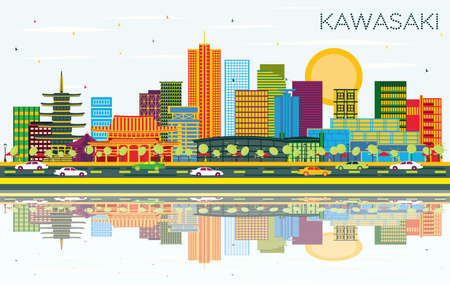 Kawasaki Japan City Skyline with Color Buildings, Blue Sky and Reflections. Vector Illustration. Business Travel and Tourism Concept with Historic Architecture. Kawasaki Cityscape with Landmarks.
