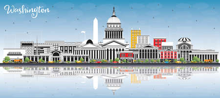 Washington DC USA City Skyline with Gray Buildings, Blue Sky and Reflections. Vector Illustration. Business Travel and Tourism Concept with Historic Buildings. Washington DC Cityscape with Landmarks. Иллюстрация