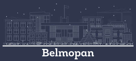 Outline Belmopan Belize City Skyline with White Buildings. Vector Illustration. Business Travel and Concept with Historic Architecture. Belmopan Cityscape with Landmarks.