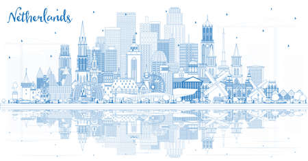 Outline Netherlands Skyline with Blue Buildings. Vector Illustration. Tourism Concept with Historic Architecture. Cityscape with Landmarks. Amsterdam. Rotterdam. The Hague. Utrecht.