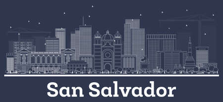 Outline San Salvador City Skyline with White Buildings. Vector Illustration. Business Travel and Concept with Historic Architecture. San Salvador Cityscape with Landmarks.