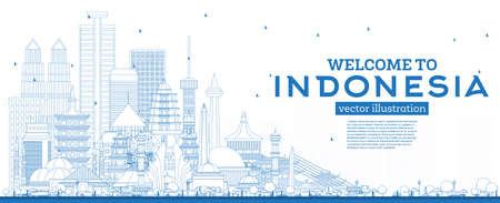 Outline Welcome to Indonesia Skyline with Blue Buildings. Vector Illustration. Tourism Concept with Historic Architecture. Indonesia Cityscape with Landmarks. Jakarta. Surabaya. Bekasi. Bandung. Medan.