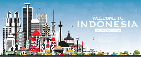 Welcome to Indonesia Skyline with Gray Buildings and Blue Sky. Vector Illustration. Tourism Concept with Historic Architecture. Indonesia Cityscape with Landmarks. Jakarta. Surabaya. Bekasi. Bandung.