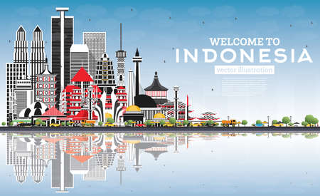 Welcome to Indonesia Skyline with Gray Buildings, Blue Sky and Reflections. Vector Illustration. Tourism Concept with Historic Architecture. Indonesia Cityscape with Landmarks. Jakarta. Surabaya. Bekasi. Bandung.