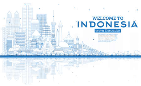 Outline Welcome to Indonesia Skyline with Blue Buildings and Reflections. Vector Illustration. Tourism Concept with Historic Architecture. Indonesia Cityscape with Landmarks. Jakarta. Surabaya. Bekasi. Bandung.