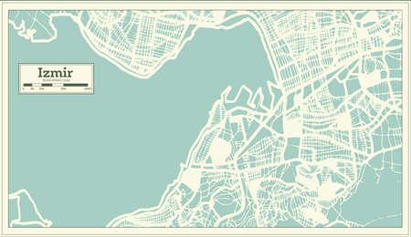 Izmir Turkey City Map in Retro Style. Outline Map. Vector Illustration.