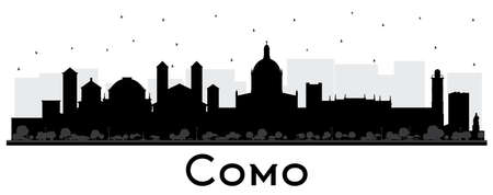 Como Italy City Skyline Silhouette with Black Buildings Isolated on White. Vector Illustration. Business Travel and Concept with Historic Architecture. Como Cityscape with Landmarks.