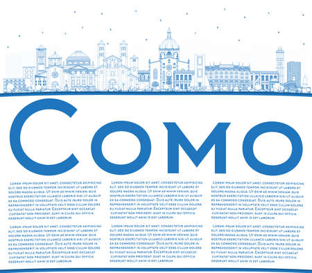 Outline Como Italy City Skyline with Blue Buildings and Copy Space. Vector Illustration. Business Travel and Concept with Historic Architecture. Como Cityscape with Landmarks.