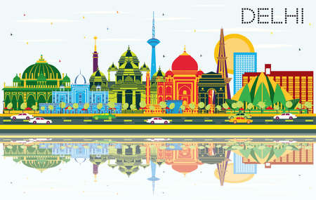Delhi India City Skyline with Color Buildings, Blue Sky and Reflections. Vector Illustration. Business Travel and Tourism Concept with Historic Architecture. Delhi Cityscape with Landmarks. Иллюстрация