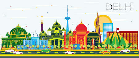 Delhi India City Skyline with Color Buildings and Blue Sky. Vector Illustration. Business Travel and Tourism Concept with Historic Architecture. Delhi Cityscape with Landmarks.