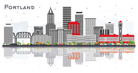 Portland Oregon City Skyline with Gray Buildings and Reflections Isolated on White. Vector Illustration. Business Travel and Tourism Concept with Modern Architecture. Portland Cityscape with Landmarks.