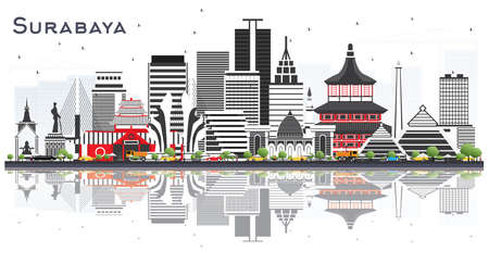 Surabaya Indonesia Skyline with Gray Buildings and Reflections Isolted on White. Vector Illustration. Business Travel and Tourism Concept with Modern Architecture. Surabaya Cityscape with Landmarks.