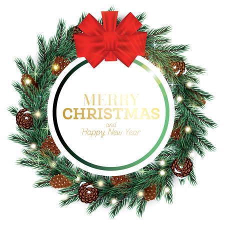 Merry Christmas Frame with Bow, Cones, Neon Lights and Fir Branches. Vector Illustration.