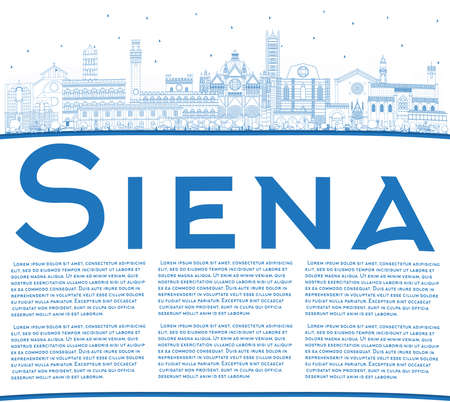 Outline Siena Tuscany Italy City Skyline with Blue Buildings and Copy Space. Vector Illustration. Business Travel and Concept with Historic Architecture. Siena Cityscape with Landmarks.