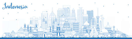 Outline Indonesia Cities Skyline with Blue Buildings. Vector Illustration. Tourism Concept with Historic Architecture. Indonesia Cityscape with Landmarks. Jakarta. Surabaya. Bekasi.
