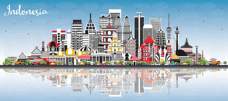 Indonesia Cities Skyline with Gray Buildings, Blue Sky and Reflections. Vector Illustration. Tourism Concept with Historic Architecture. Indonesia Cityscape with Landmarks. Jakarta. Surabaya.