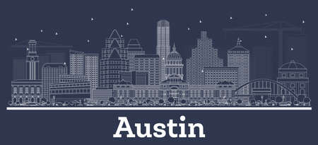 Outline Austin Texas City Skyline with White Buildings. Vector Illustration. Business Travel and Concept with Historic Architecture. Austin Cityscape with Landmarks.