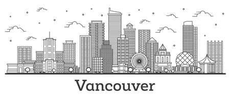 Outline Vancouver Canada City Skyline with Modern Buildings Isolated on White. Vector Illustration. Vancouver Cityscape with Landmarks.