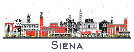 Orizzonte della città di Siena Toscana Italia con edifici di colore isolato su bianco. Illustrazione di vettore. Viaggi d'affari e concetto con architettura storica. Paesaggio urbano di Siena con punti di riferimento. Vettoriali