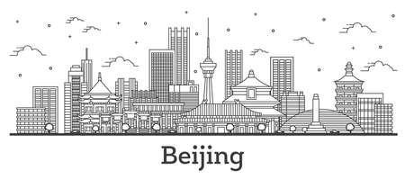 Outline Beijing China City Skyline with Modern Buildings Isolated on White. Vector Illustration. Beijing Cityscape with Landmarks.