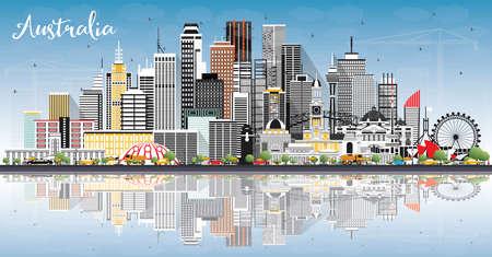 Australie City Skyline avec bâtiments gris, ciel bleu et reflets. Illustration vectorielle. Concept de tourisme avec architecture historique. Paysage urbain de l'Australie avec des points de repère. Sydney. Melbourne. Vecteurs