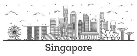 Outline Singapore City Skyline with Modern Buildings Isolated on White. Vector Illustration. Singapore Cityscape with Landmarks.