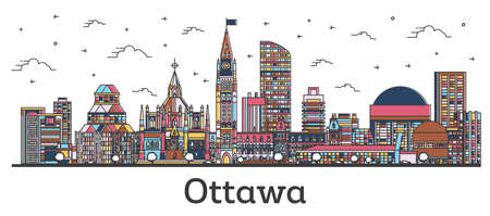 Outline Ottawa Canada City Skyline with Color Buildings Isolated on White. Vector Illustration. Ottawa Cityscape with Landmarks.  일러스트