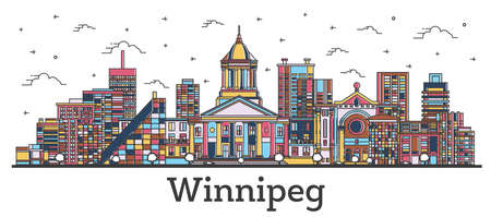 Outline Winnipeg Canada City Skyline with Color Buildings Isolated on White. Vector Illustration. Winnipeg Cityscape with Landmarks.  Illustration