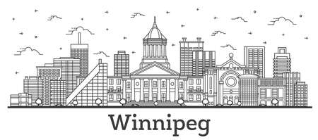 Outline Winnipeg Canada City Skyline with Modern Buildings Isolated on White. Vector Illustration. Winnipeg Cityscape with Landmarks.  Illustration