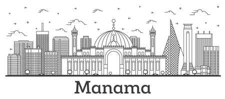 Contours œanama Ð'ahrain City Skyline avec des bâtiments modernes isolés sur blanc. Illustration vectorielle. Paysage urbain de Ðœanama avec points de repère.