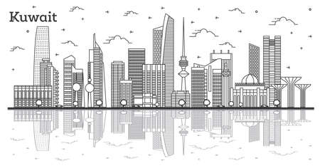 Outline Kuwait City Skyline with Modern Buildings and Reflections Isolated on White. Vector Illustration. Kuwait Cityscape with Landmarks.