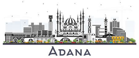 Adana Turkey City Skyline with Color Buildings Isolated on White. Vector Illustration. Business Travel and Tourism Concept with Historic Architecture. Adana Cityscape with Landmarks.