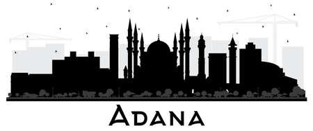 Adana Türkei City Skyline Silhouette mit schwarzen Gebäuden, isoliert auf weiss. Vektor-Illustration. Geschäftsreise- und Tourismuskonzept mit historischer Architektur. Adana-Stadtbild mit Sehenswürdigkeiten. Vektorgrafik