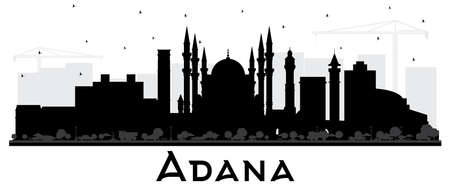 Adana Turkey City Skyline Silhouette with Black Buildings Isolated on White. Vector Illustration. Business Travel and Tourism Concept with Historic Architecture. Adana Cityscape with Landmarks. Vektorové ilustrace